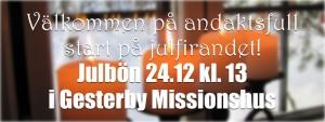 Julbön @ Gesterby Missionshus | Finland