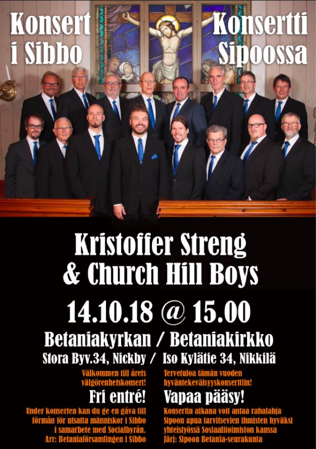 Konsert med Kristoffer Streng och Church Hill Boys @ Betania | Finland