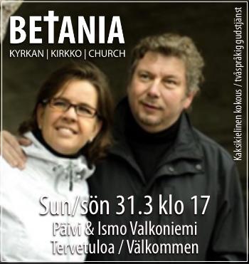 Gudstjänst med Päivi & Ismo Valkoniemi - kaksikielinen kokous @ Betania | Finland