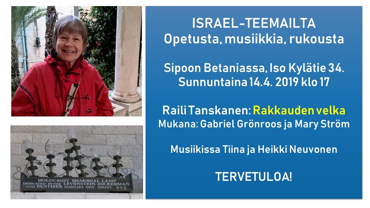 Israel-teemailta Raili Tanskasen kanssa @ Betania