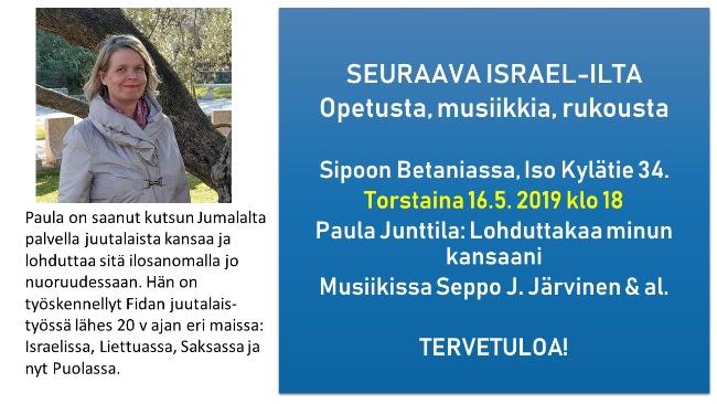 Israel-teemailta Paula Junttilan kanssa @ Betania