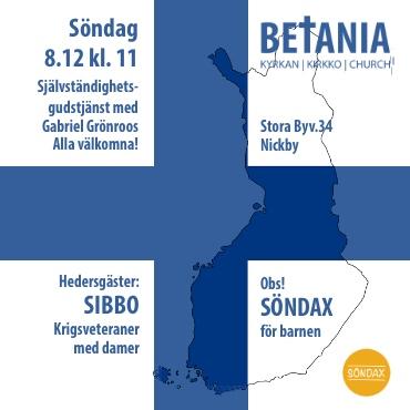 Gudstjänst med Gabriel Grönroos och Sibbo krigsveteraner @ Betania | Sibbo | Nyland | Finland