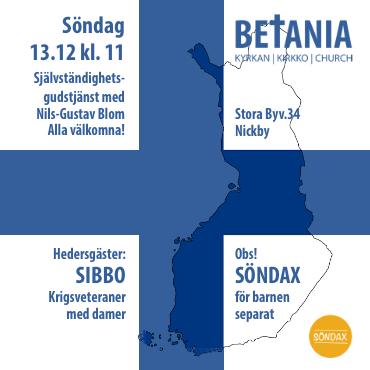 Gudstjänst med Nils-Gustav Blom och Sibbo krigsveteraner @ Betania | Sibbo | Nyland | Finland