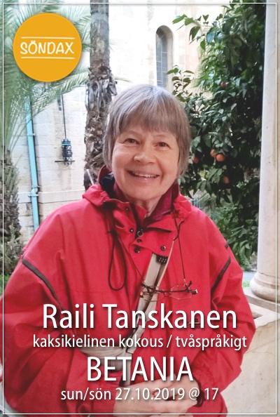 Gudstjänst med Raili Tanskanen - kaksikielinen kokous + Söndax @ Betania | Finland