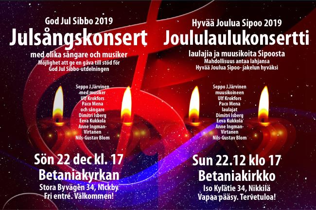 God Jul Sibbo-konsert 2019 | Hyvää Joulua Sipoo-konsertti 2019 @ Betaniakyrkan