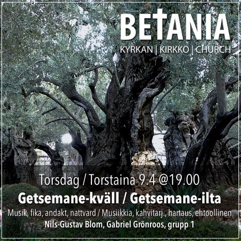 INSTÄLLT Getsemane-kväll / Getsemane-ilta @ Betania | Finland
